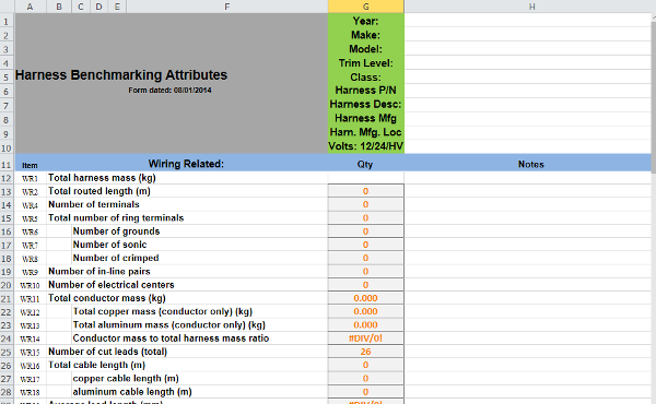 Screenshot of Excel document demonstrating Benchmarking Template.